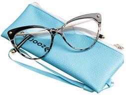 SOOLALA Ladies Oversized Cat Eye Reading Glass Modern Eyegla