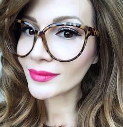 "Large Big ""SOFIA"" Sexy Cat Eye Glasses Clear Lens Smart Look"