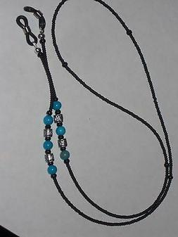 Macho Men's Eyeglass Chain~Manly Matte Black w/Turquoise~28""