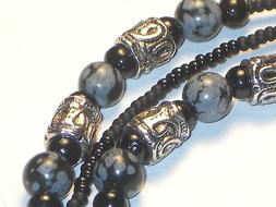 Macho Men's Hand Beaded Eyeglass Chain~Matte Black Obsidian~