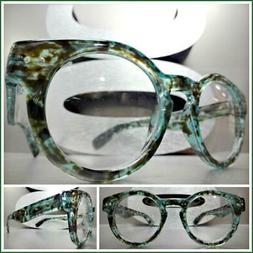 Men CLASSIC RETRO Style Clear Lens EYE GLASSES Rare Green To