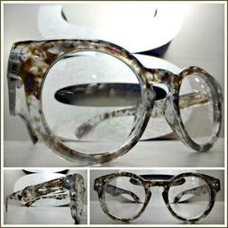 Men CLASSIC RETRO Style Clear Lens EYE GLASSES Small Gray To