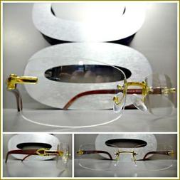 Men Classy SOPHISTICATED Clear Lens EYE GLASSES Rimless Gold