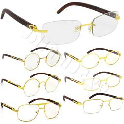 Men Clear Lens Eye Glasses Gold Designer Wood Frames