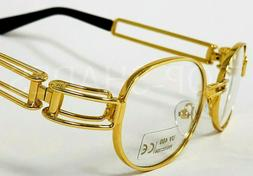 Men Clear Lens Eye Glasses Sunglasses Gold Frame Hip-Hop Buf
