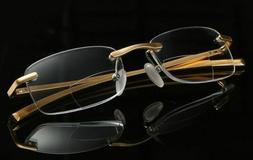 Men Eyeglass Bifocal Reading Glasses Rimless Readers Gold1.0