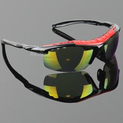 Men Polarized Sunglasses Sport Wrap Around Mirror Red Fire D