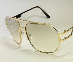 Men's Clear Eye Glasses Sunglasses Gold Frame Style Shades F