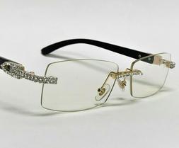 Men's Clear Lens Eye Glasses Rhinestone Diamond Women's Clas