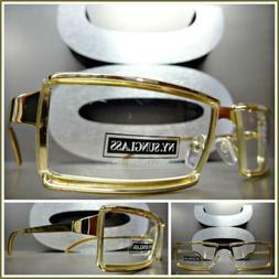 Men's CONTEMPORARY MODERN Style Clear Lens EYE GLASSES Gold