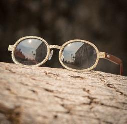 Men's Gold Diamond Clear Lens Wood Frame Eye Glasses