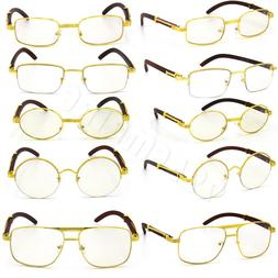 For Men's Gold Metal Wood Effect Frames Eye Glasses Clear Le
