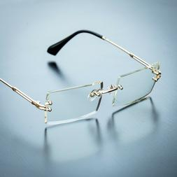 Men's Rectangular Sophisticated Gold Clear Lens Square Rimle