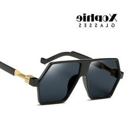 Men's Retro Oversized Pilot Mirrored Sunglasses Vintage Eye