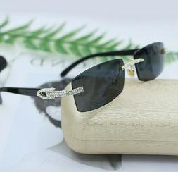 Men's Small Rectangular Sophisticated Gold Brown Lens Square