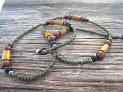 Men's Unisex Camo Green Wood Brown Beaded Eyeglass Chain Hol