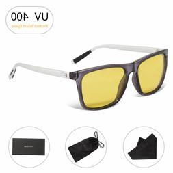 Men Stylish Eyewear UV 400 Sunglasses Yellow Lens Square Eye