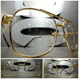 Men VINTAGE RETRO AVIATORS Style Clear Lens EYE GLASSES Smal