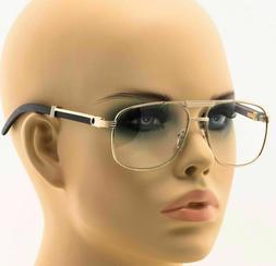Men Women Designer Clear Lens Eye Glasses Gold Wood Frame Fa