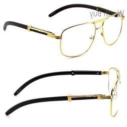 Men Women Pilot Clear Lens Eye Glasses Gold Wood Frame Fashi