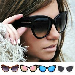 Men Women Black Cat Eye Sunglasses Fashion T Letter Glasses