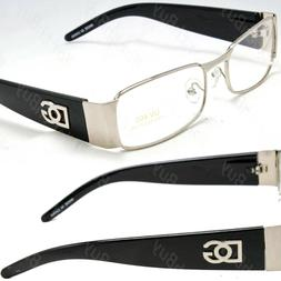 Men Women Silver Black Clear Lens Frame Eye Glasses Rectangu