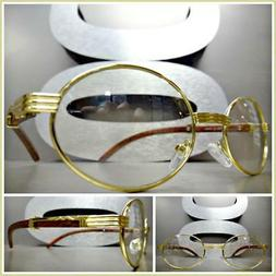 Mens CLASSY MODERN Clear Lens EYE GLASSES Oval Gold & Wood W