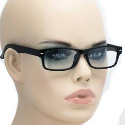 Mens Geeky Nerd Thick Plastic Frame Rectangular Horn Rim Fas