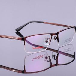 Mens Half Rimless Spectacles Glasses Frame Reading Myopia Ey