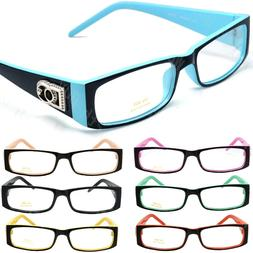 Mens Women Clear Lens Rectangular Frame Fashion Eye Glasses