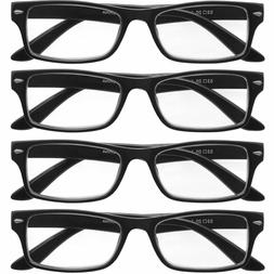 Reading Glasses Mens Womens 4 Pack Square Readers Classic St