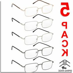 Reading Glasses Mens Womens Square Spring Hinge Unisex 5 Pac