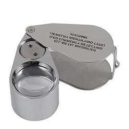 40X Full Metal Illuminated Jewelry Loop Magnifier,XYK Pocket