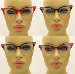 New Clear Lens Cat Eye Glasses Retro Vintage Style Women's F