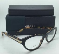 New PRADA Eyeglasses VPR 18P NAI-1O1 52-17 135 Black on Tort