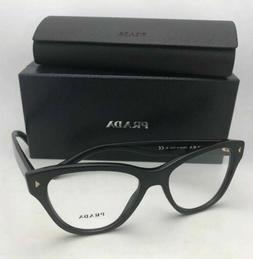 New PRADA Eyeglasses VPR 23S 1AB-1O1 52-17 Black Cat-Eye Fra