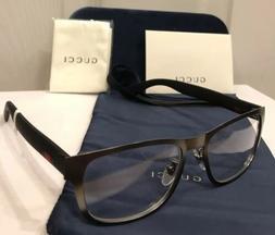 New GUCCI GG0175O 001 Men's Gray Eyeglasses Frame W/ Gucci