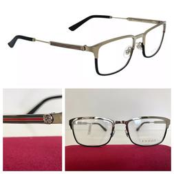 NEW GUCCI MEN GG0135O 006 55-19-140 SILVER BLACK EYEGLASSES