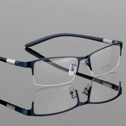 New Men's Metal Half Rimless Myopia Eyeglasses Frames Optica