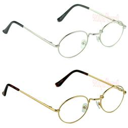 New Men Women Clear Lens Eye Glasses Retro Metal Oval Frame