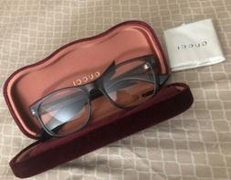 NEW GUCCI Mens Grey Havana Transparent Stripe Eye Glasses Fr