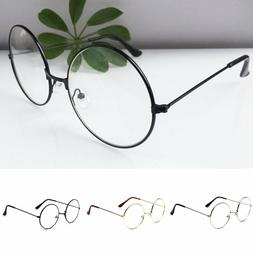 New! Women Men Large Oversized Metal Frame Clear Lens Round
