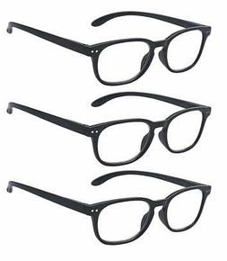 Outray Men & Women Reading Glasses 3 Pair Spring Hinges Rect