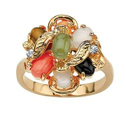 Palm Beach Jewelry Oval Multi-Color Genuine Coral, Opal, Jad