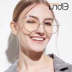 Elbru Overside Metal Round Eyewear Frame Women Hign Quality