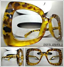 Oversize Exaggerated RETRO Large Leopard Lensless Eye Glasse