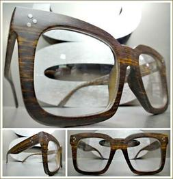 OVERSIZE Nerd RETRO Style Clear Lens EYE GLASSES Square Faux