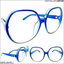 Oversize Retro Lensless Round Eye Glasses Huge Big Large Blu