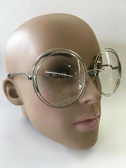 OVERSIZE RETRO VINTAGE Clear Lens EYE GLASSES Large Round Si