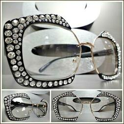 OVERSIZED EXAGGERATED Clear Lens EYE GLASSES Bling Crystals